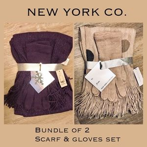 NWT BUNDLE OF 2 SCARVES & GLOVES GIFT SET